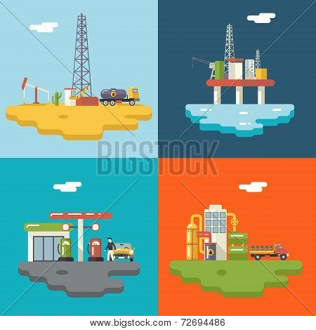 Retro Flat Oil Icons and Symbols Concept Set Vector Illustration