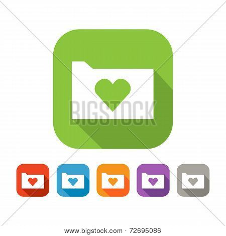 Color set of flat folder with heart