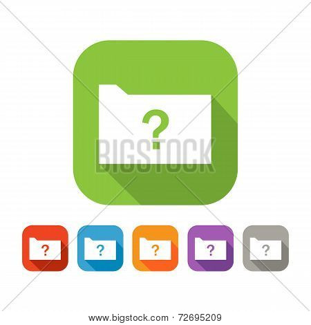 Color set of flat folder with question mark