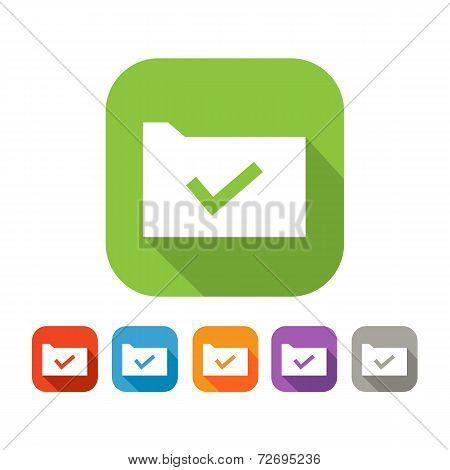 Color set of flat folder with tick