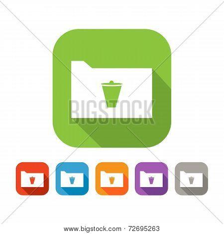 Color set of flat folder with trash bin