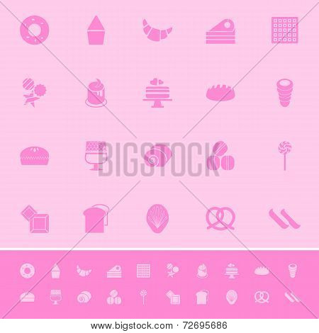 Variety Bakery Color Icons On Pink Background