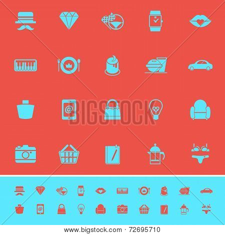 Department Store Item Category Color Icons On Red Background