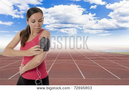 Female Runner With Earphones