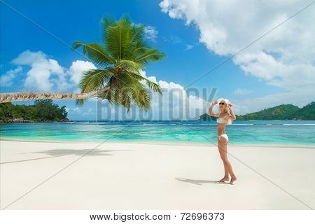 Cute Blonde Woman At Tropical Beach Baie Lazare At Island Mahe, Seychelles