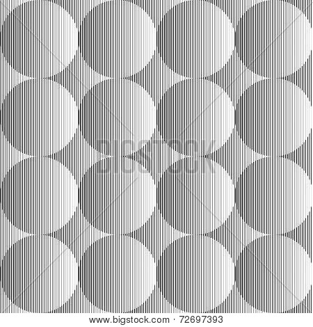 Design Seamless Monochrome Volumetric Sphere Geometric Lines Pattern