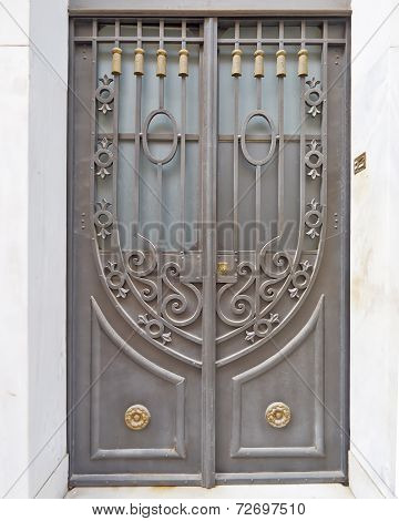 vintage house forged door detail
