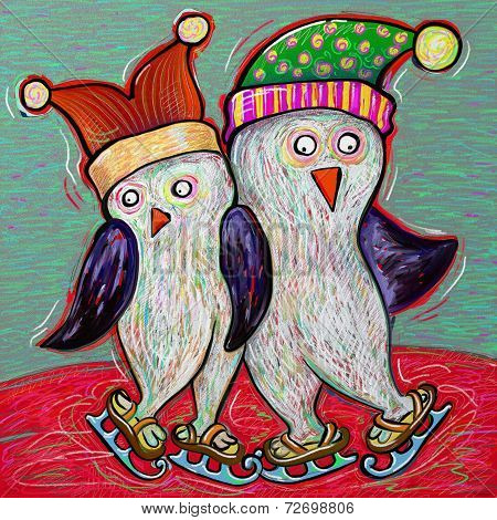 penguin couple ice skate, digital painting illustration