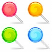 foto of lollipops  - Set of color lollipops candies on white background - JPG