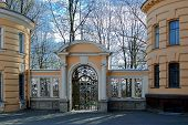 image of trinity  - Arched gate with lattice and columns in the courtyard of the Holy Trinity Cathedral of the Alexander Nevsky Lavra in Saint - JPG