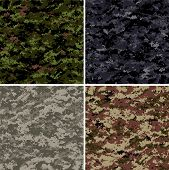 stock photo of camo  - digital camouflage seamless vector patterns  - JPG