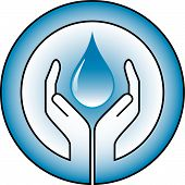 stock photo of water-saving  - water drop and hands  - JPG