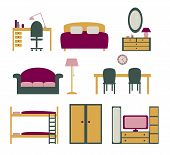 stock photo of bunk-bed  - set of vector icons with furniture for apartment flat design - JPG