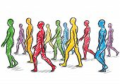 foto of proceed  - illustration with a group of people walking - JPG