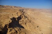 picture of zealots  - View on Judean desert and Roman fortification ruins from Masada fortress Israel - JPG