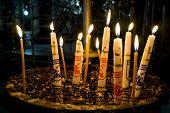 stock photo of bethlehem  - Candles in the Church of the Nativity Bethlehem Jerusalem Israel - JPG