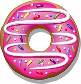 picture of icing  - Donut with pink icing on a white background - JPG