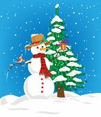 stock photo of snowmen  - Snowman with hat and scarf holding Christmas gift and little cute bird with Christmas hat perching on snowman arm and Christmas gift on its beak - JPG