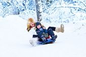 picture of sleigh ride  - Young Happy Mother And Her Adorable Son Having Fun Together On A Sleigh Ride In A Snowy Park - JPG