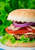 pic of sesame seed  - Burger with lettuce - JPG