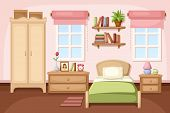 stock photo of wardrobe  - Vector illustration of a bedroom interior with a bed - JPG