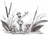 image of time flies  - The baby bird for the first time flies up from a hand of the little girl - JPG