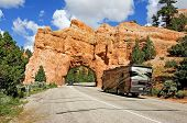 stock photo of tunnel  - Tunnel on Hwy 12 at Red Canyon in Utah near Bryce Canyon National Park - JPG