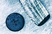 foto of hockey arena  - Hockey Stick and Puck - JPG