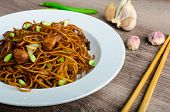 image of scallion  - Crisp noodles with chicken and soy sauce topped with scallions and garlic - JPG