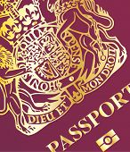 image of passport cover  - Closeup of the front cover of a new british passport - JPG