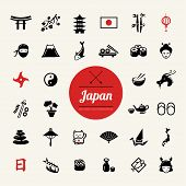 image of japanese flag  - Set of vector flat design Japanese icons - JPG