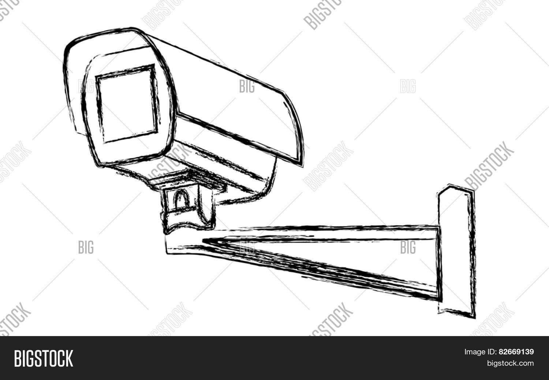 black and white surveillance camera  cctv  warning sign