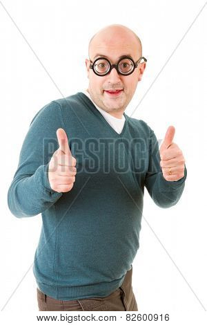 geek man going thumbs up, isolated on white background