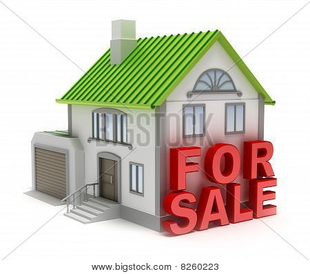 Home for sale. 3D concept isolated on white