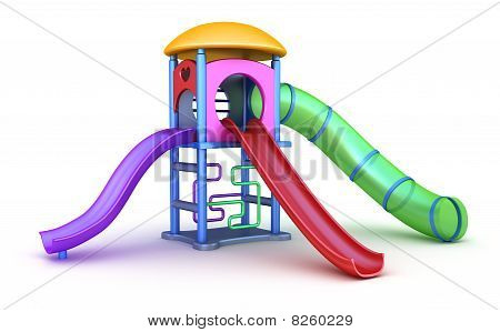 Colorful playground for childrens. Isolated on white