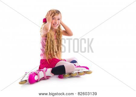blond pigtails roller skate girl sitting happy on white background