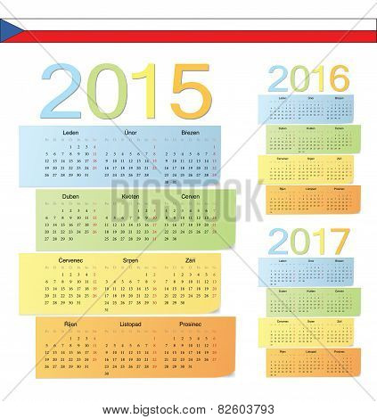 Set Of Czech 2015, 2016, 2017 Color Vector Calendars
