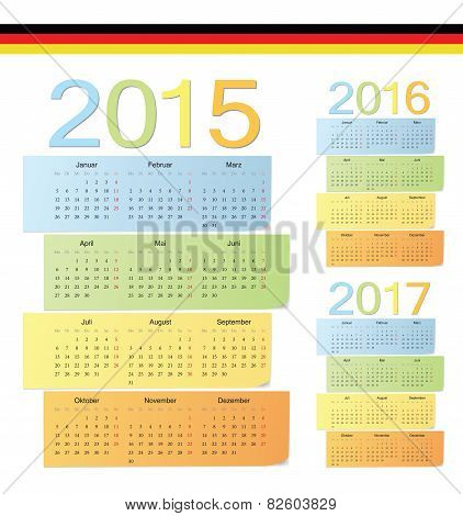 Set Of German 2015, 2016, 2017 Color Vector Calendars