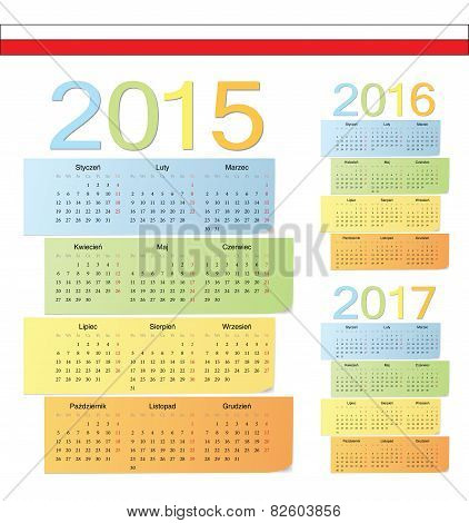 Set Of Polish 2015, 2016, 2017 Color Vector Calendars