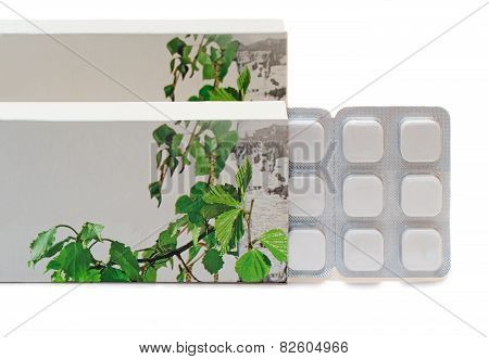 Drug: Tablets In A Package On A White Background.