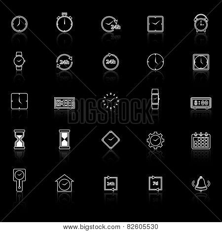 Time Line Icons With Reflect On Black Background