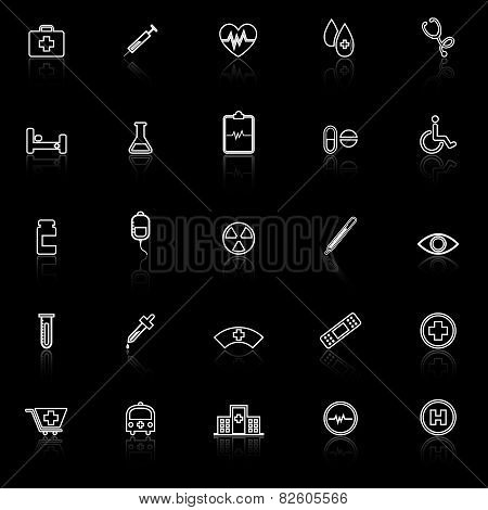 Medical Line Icons With Reflect On Black Background