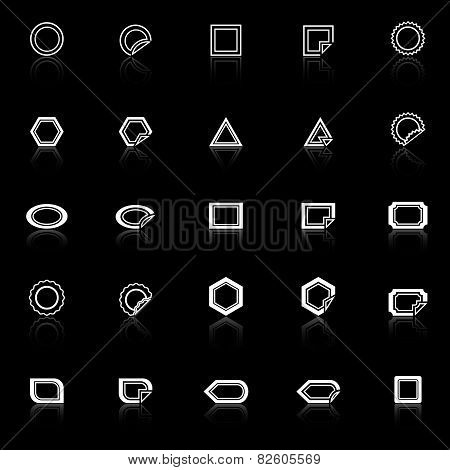 Label Line Icons With Reflect On Black Background