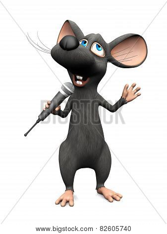 Cartoon Mouse Singing With Microphone.