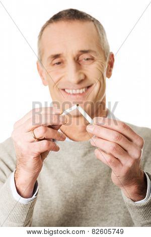Successful mature man quits smoking