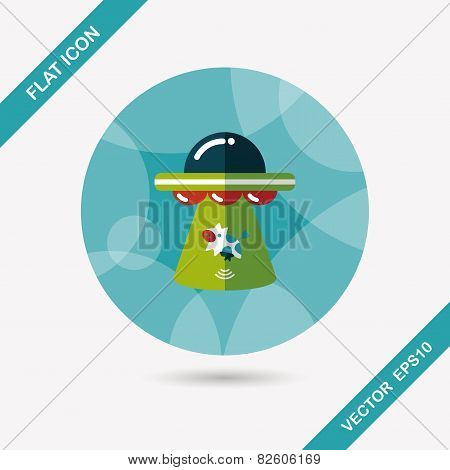 Space Ufo Flat Icon With Long Shadow, Eps10