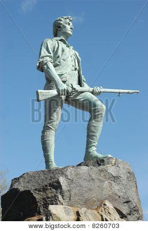Minuteman Statue At Lexington Battle Green In Massachusetts