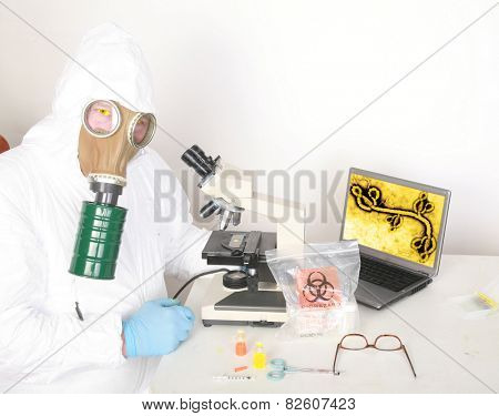 a research scientist wears a hazmat suit and gas mask as he works on a cure to the Zombie Apocalypse.