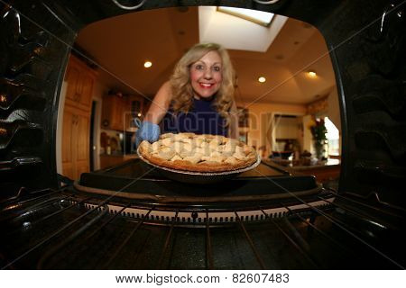 a house wife bakes a apple pie for her hungry family for desert. apple pies are as American as well Apple Pie. Shot from inside the oven for a unique view not often seen