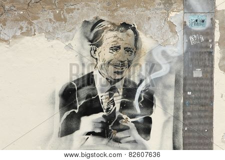 PRAGUE, CZECH REPUBLIC - JULY 15, 2013: Former Czech president Vaclav Havel depicted in the street graffiti in Prague, Czech Republic.